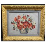 Beautiful Framed Floral Needlepoint
