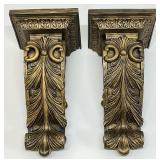 Pair Corbel Style Wall Shelves