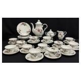 34PC Floral Porcelain Tea Pot & Tea Set
