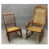 Pair of Antique Cane Bottom Rockers