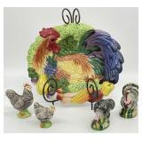 Fitz & Floyd Chicken Platter w/ Stand & More
