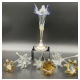 7PC Art Glass Flowers