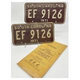 Pair SC Vintage License Plates
