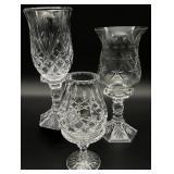 3pc Crystal / Glass Hurricane Candle Holders