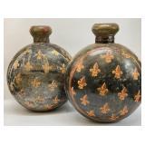Pair Large Hand Painted Metal Jugs / Vases