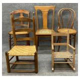 5 Misc Cane or Rush Bottom Chairs