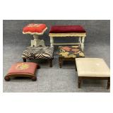 6 Assorted Vanity Stools and Ottomans
