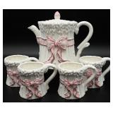 Omnibus Japan Pink Bow Pottery Pitcher & Mugs