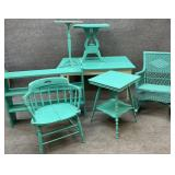 7 Pieces Turquoise Painted Furniture