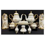 13PC Gold Rimmed / Monogrammed Porcelain China