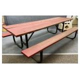 8ft Metal and Wood Picnic Table