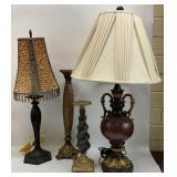 Pair Lamps & Pair Decorative Candle Holders