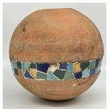 Large Antique Round Pottery w/Tiles