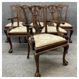 Set of 6 Heavily Carved Chippendale Chairs