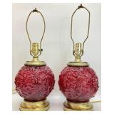 Fenton(?) Cranberry Glass Globe Lamp