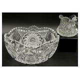 2pc Brilliant Cut Glass Bowl & Creamer