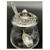 Repousse Sterling Silver / Etched Glass Jelly Jar