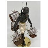 Vintage Blackamoor Nubian Man Bird Seller Statue