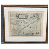 Blaeu Map North Carolina Coast 1640 Framed Reprint