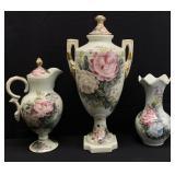 3pc Dominie Hand Painted Urn, Pitcher & Vase