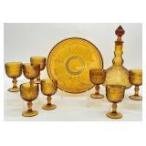 10pc Vintage Amber Glass Wine Set