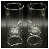 2pc Wolfard Glassblowing Co. Hand Blown Oil Lamps