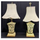 Pair Chelsea House Formal Floral Table Lamps