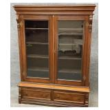 Antique Walnut Glass Door Bookcase