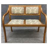 Oak Settee with Floral Upholstery