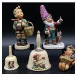 5pc Goebel Hummel / Gnome Figurines & Bells