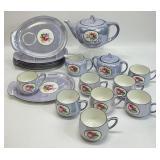 19pc Blue Floral Lusterware Porcelain Tea Set