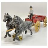 Vintage Cast Iron Horses and Carriage