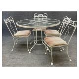White 42in Patio Table & Chairs