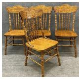 Set of 4 Oak Press Back Chairs