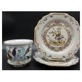 3pc Asian Plate & Planter Grouping