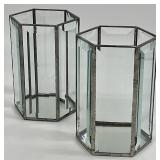 Set of 2 Beveled Glass Mirrored Candle Holders