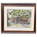 Cottage Scene Watercolor Art - Signed