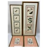 4pc Bird & Butterfly Framed Art Grouping