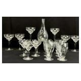 18pc Etched Glassware Set
