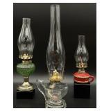 3pc Antique Oil Lamps