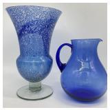 Speckled Blue Art Glass Vase & Pitcher