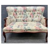 French Floral Tufted Back Settee