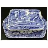 Spode England Blue & White Covered Butter Dish