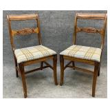 Pair of Walnut Stretcher Base Accent Chairs