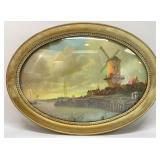 Antique Bubble Glass Oval Frame w/ Art Print