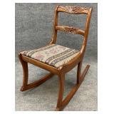 Vintage Rose Carved Rocking Chair