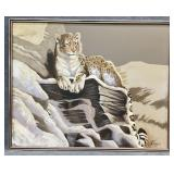 Large Leopard Oil on Canvas Signed