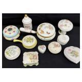 11pc Porcelain Lidded Boxes & More