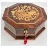 Italian Marquetry Inlaid Wood Musical Jewelry Box