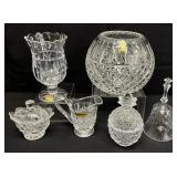 6pc Crystal & Glass Vases & More Grouping
